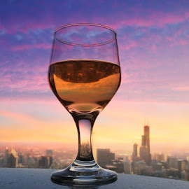 Skyline Happy Hour by Tricia Scott - Food & Drink Alcohol & Drinks ( happy hour, dine, willis tower, sunset, alcohol, drink, dining, sears tower, chicago,  )