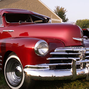 Cherry Red by Diane Butler - Transportation Automobiles ( car, red, white walls, chrome, hot rod )