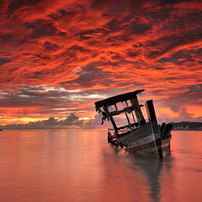 Red Sunset by Dadan Ramdani - Landscapes Waterscapes ( sea boat cloud sunset shore, color, colors, landscape, portrait, object, filter forge,  )