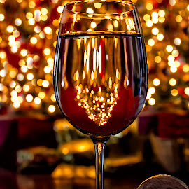 New Year Cheer  4005 by Karen Celella - Food & Drink Alcohol & Drinks ( lights, wine, reflection, new year, christmas, cheers, toast, bokeh, new, year )