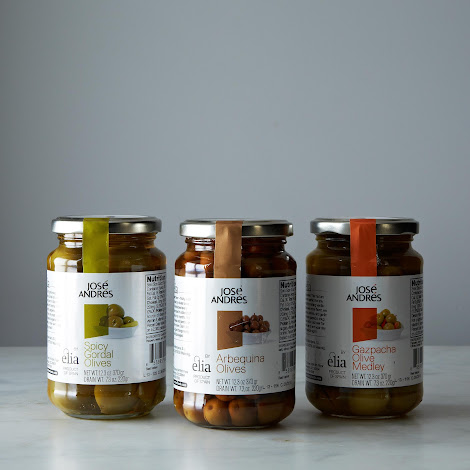 José Andrés Spicy Gordal Olives, Arbequina Olives and Gazpacha Medley Olives, 3 Jars
