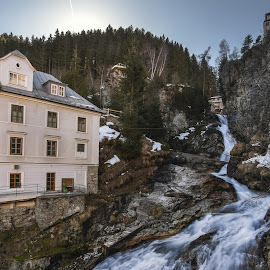 Bad Gastein. Falls 3  by Александр Науменко - Landscapes Waterscapes ( gastein, hills, building, europe, church, downhill, colors, christmas, architecture, bad, dusk, alpine, city, hofgastein, background, cafe, high, day, bridge, evening, austria, alps )