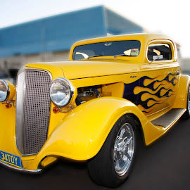 Hot yellow by Michael Mitchell - Transportation Automobiles ( old, flames, vintage, old school, yellow, hot rod )