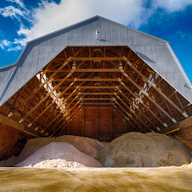Salt Barn Ready For Snow by Alan Roseman - Buildings & Architecture Other Interior ( structure, rock salt, winter store, new england, barn, plymouth, sand barn )