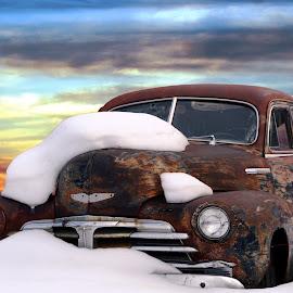 Rusty Car by Joerg Schlagheck - Transportation Automobiles ( total, car, resting, old, sky, sedan, chevrolet, wreck, snow, rust, antique )
