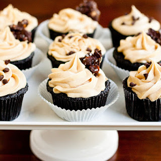 Sour Cream-Chocolate Cupcakes with Peanut Butter Frosting