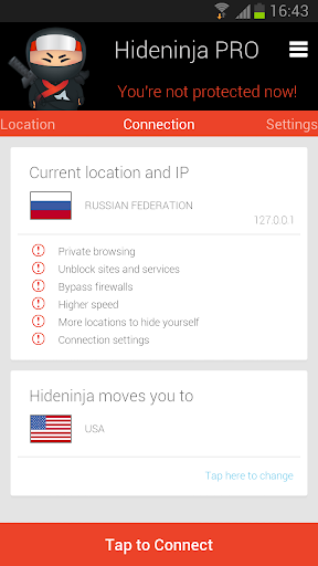Screenshot #5 of VPN Hideninja / Android