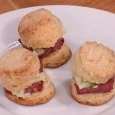 Irish Cheddar Scones with Corned Beef and Apple Slaw