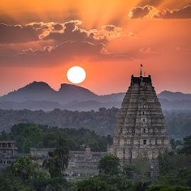 Sunset at Hampi, India by Kevin Standage - Landscapes Travel ( canon, temple, sunset, hampi, india, travel, karnataka )