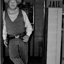 A New Sheriff's in Town by Tony Moore - People Portraits of Men ( happy valley, cowboy, sass, nc, caldwell, sport, western, standing, west, man, gun )