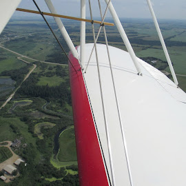 View from a Bi-plane by Linda Doerr - Transportation Airplanes ( plane, greenery, above, high, view )