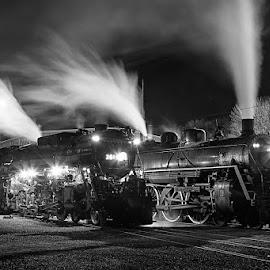 Milwaukee Road 261 and Soo Line 2719 by Ben Podolak - Transportation Trains ( steam train, locomotive, milwaukee road, night, soo line, steam )