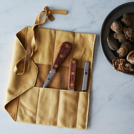 Wellfleet Oyster, Little Neck Clam, & Crab Knives + Leather Wrap