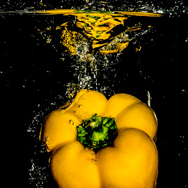 Yellow by John Myrianthousis - Abstract Water Drops & Splashes