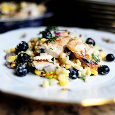 Grilled Chicken Salad with Feta, Fresh Corn, and Blueberries