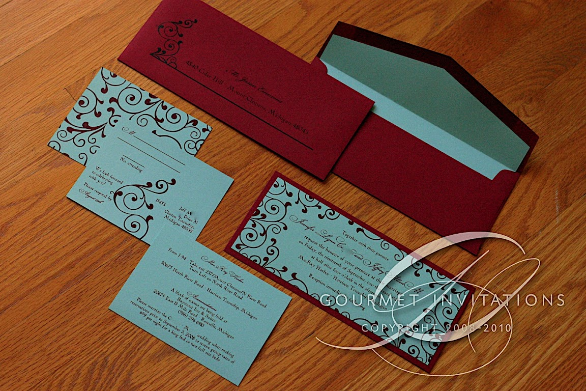 Jennifer\'s Aqua and Red Invitations - Gourmet Invitations