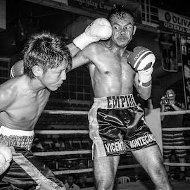 ouch by Nathalie Gemy - Sports & Fitness Boxing ( hit, black and white, uppercut, muscle, pain, sport, boxing )