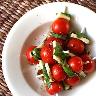 Caprese Skewers with Balsamic and Olive Oil