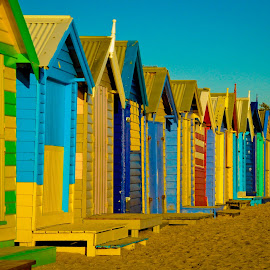 Beach huts in Australia by Desiree DeLeeuw - Buildings & Architecture Other Exteriors ( colorful, beach huts, australia, travel, landscape )