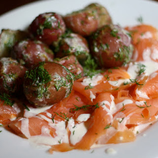 Potato Salad with Smoked Salmon and Horseradish Crème Fraîche