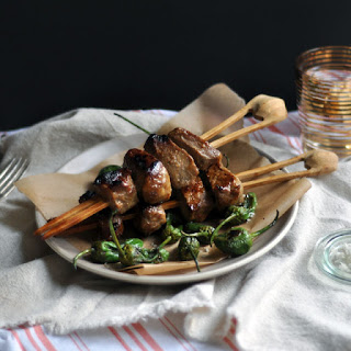 Miso-Marinated Beef and Charred Shishito Pepper Skewers