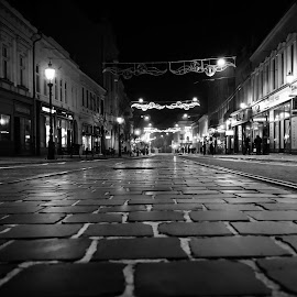 Miskolc at night by Máté Csöbönyei - City,  Street & Park  Street Scenes