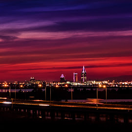 Mobile in Purple by RomanDA Photography - City,  Street & Park  Skylines ( clouds, water, orange, reflection, sky, purple, bay, blue, sunset, mobile )