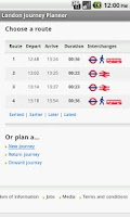 Screenshot of London Journey Planner Live