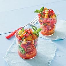 Watermelon-Peach Salsa and Tomatoes