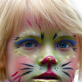 Child with painted face by Marcel Waterman - People Body Art/Tattoos ( child, girl, blond hair, cat paint, painted face,  )