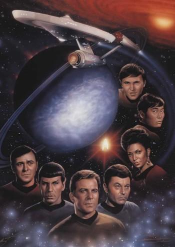 De baixo para cima: Scott, Spock, Kirk, McCoy, Uhura, Sulu e Chekov