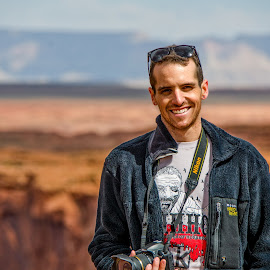 Photographer on Break by Paulo Peres - People Street & Candids ( page, arizona, photographer, candid, smile, man )