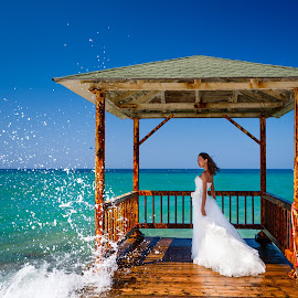 by Alexander Hadji - Wedding Other ( wedding, greece, wave, bride )