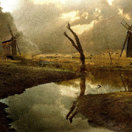 The Dale of the Windmills by Bjørn Borge-Lunde - Digital Art Places ( fantasy, clouds, nature, lake, windmills, skies, river )