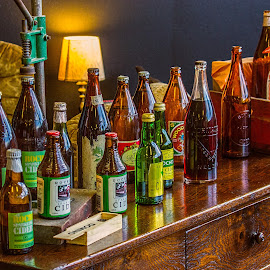 an odd collection by Vibeke Friis - Artistic Objects Glass ( bottles on table,  )