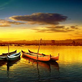 Senja Danau Limboto by Irwan Karim - Landscapes Sunsets & Sunrises ( indonesia, lake, limboto, gorontalo, , landscape, beach, color, colors, portrait, object, filter forge )