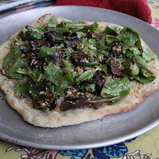 Herbed Salad Flatbread With Fig, Pecan Vinaigrette