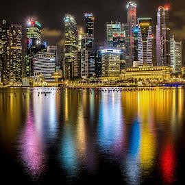 by Renke Bargmann - City,  Street & Park  Skylines ( skyline, long exposure, night, marina bay, singapore )