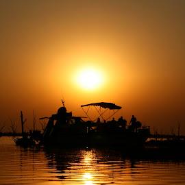 Sun Downers by Rix Sticks - Landscapes Sunsets & Sunrises ( african sunset, zambezi sunset, lake kariba sunset., sun downers on a boat, sunset over water )