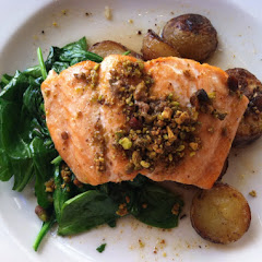 Scottish organic salmon with maple-cider sauce and pistachio crumble