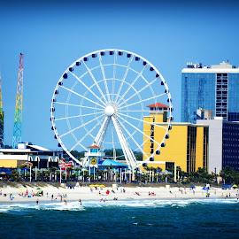 Awe, The view !! by Linda Blevins - City,  Street & Park  Amusement Parks ( blue skys, amusement park, blue water, beauty, beach )