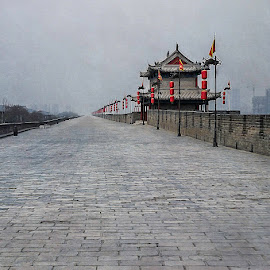 Xian City Wall by Barb Hauxwell - Buildings & Architecture Other Exteriors ( building, flags, xian, cloudy, xian wall, cityscape, architecture, dreary, lanterns, china )