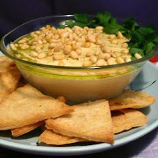 Hummus With Toasted Pine Nuts, Cumin Seeds and Parsley Oil