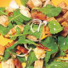 Seared Pear, Bacon and Arugula Panzanella