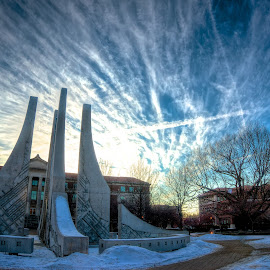 Winter fountain  by Yu Tsumura - Buildings & Architecture Statues & Monuments ( sky, winter, hdr, fountain, beautiful sky )