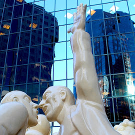 City Planners by Ronnie Caplan - Buildings & Architecture Statues & Monuments ( statue, patterns, skyscrapers, reflections, windows )