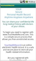 Screenshot of YourHealthRecord