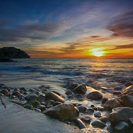 Sunset at Beauty Beach by Syahid Kesuma - Landscapes Beaches ( rocks at beach, nature, beach, beauty, landscapes,  )