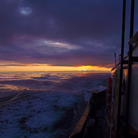 Out the Wheelhouse...West by Art Straw - Landscapes Sunsets & Sunrises ( marine, tugs, waterscape, serene, sunset, scenic )