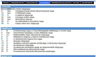 Screenshot of Naptár Portál - naptarak.com